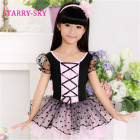 New Ballet Tutu Dancewear Girls Ballet Clothes Costumes Black + Pink Toddler Leotard Professional Tutus Ballerina Dress Kids