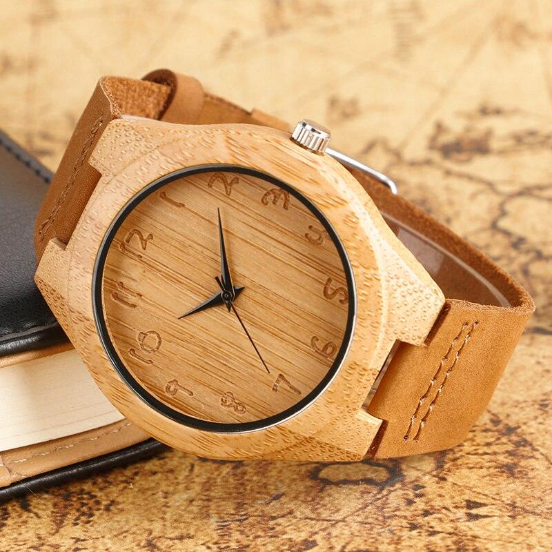 Klassik əl istehsalı yüngül ağac saatları, qadınlar üçün - Kişi saatları - Fotoqrafiya 3