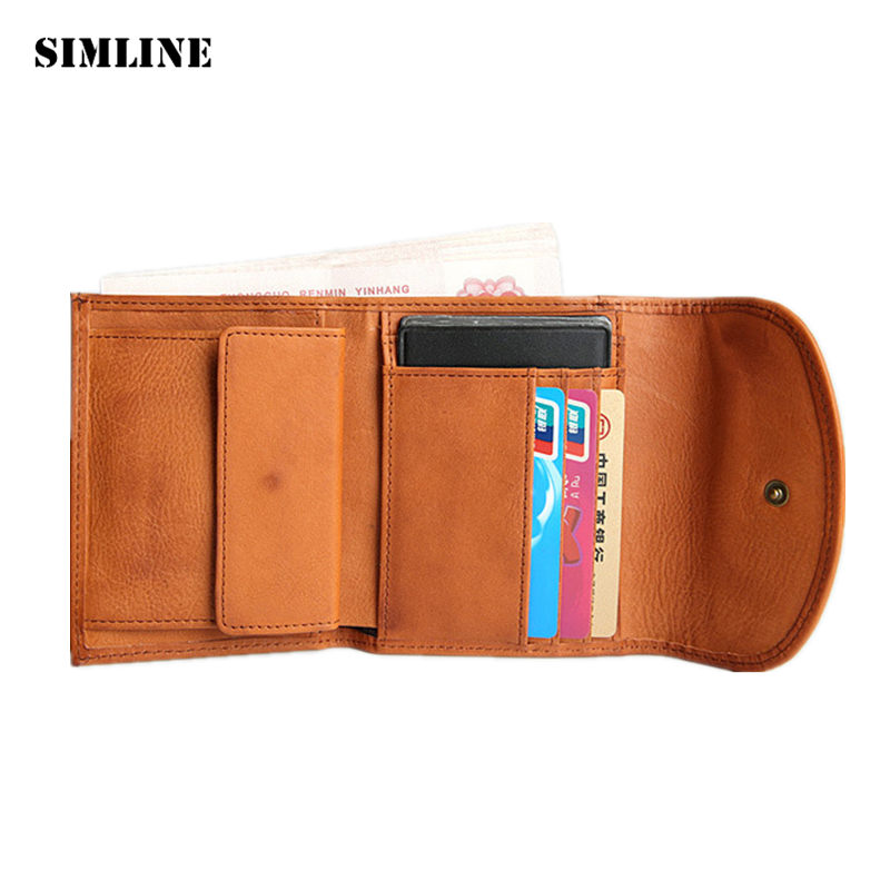 SIMLINE Vintage Genuine Leather Cowhide Mens Male Short Trifold Wallet Wallets Purse Card Holder Coin Pocket Carteira For Men contact s genuine leather men wallet passport cover short male wallet coin purse card holder vintage zipper men wallets carteira
