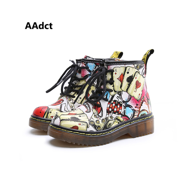 AAdct new Autumn Graffiti Girls Boots Martin kids boots for Comfortable High quality personality Children shoes 2018 fashion