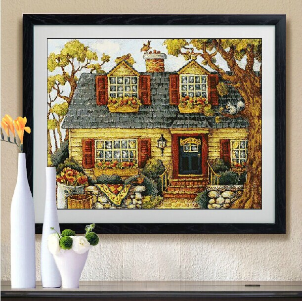 Embroidery Package Best Quality On Sale  Cross Stitch Kits Unopen New Luxurious House Tree Free Shipping