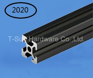 Black Aluminum Profile Aluminum Extrusion Profile 2020 20*20 commonly used in assembling device frame, table and display stand