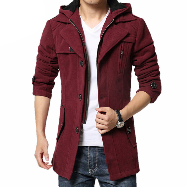 dea3c235d5e6 New Fashion Thicken Men Trench Coat Jacket Winter Warm Outerwear ...