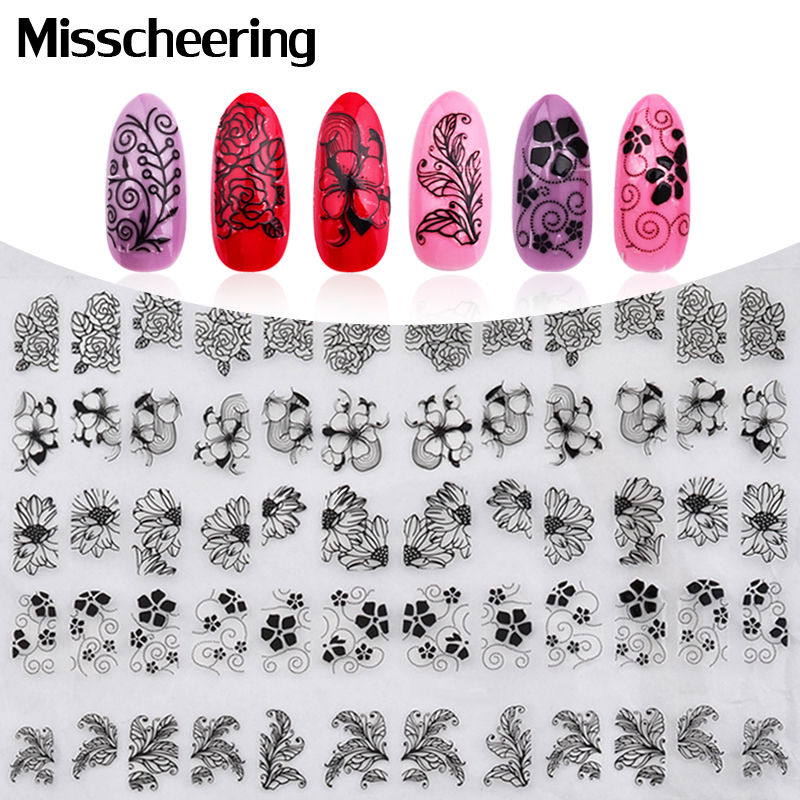 3D Black Flowers Nail Stickers,108pcs/sheet Top Quality Metallic Mix Design Nail Decals,DIY Beauty Manicure Nail Tips Decoration 50 sheets 3d nail art stickers decals high quality mix color flowers design nail tips decoration tools