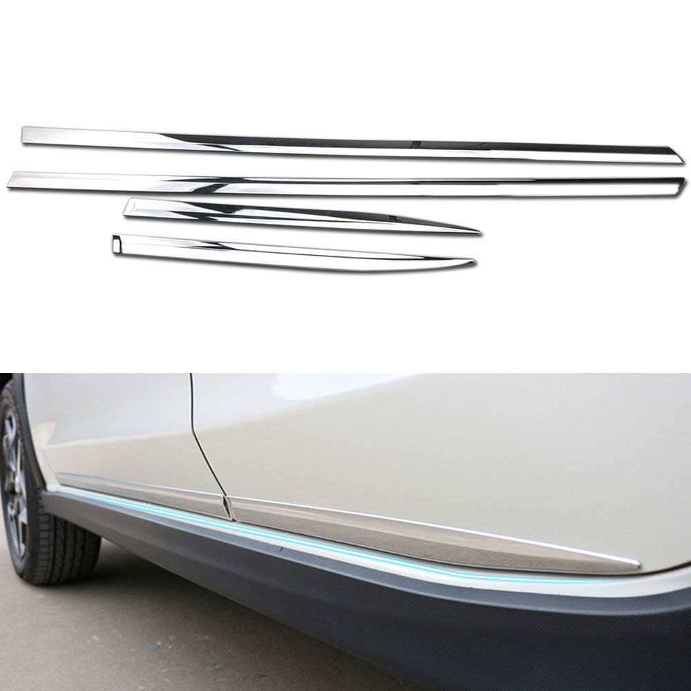 4pcs/set ABS Chrome Car Door Body Strip Molding Decorations Trim Decal Fit For Subaru Crosstrek XV 2018 Car Styling Accessories