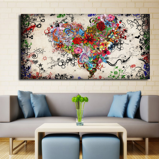 Modern Big Canvas Wall Art Canvas Painting Watercolor Heart Flowers  Abstract Wall Pictures For Living Room