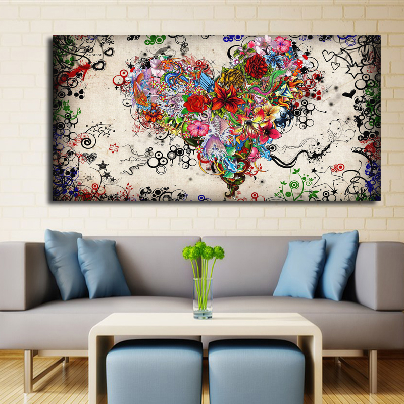 Lovely Modern Big Canvas Wall Art Canvas Painting Watercolor Heart Flowers  Abstract Wall Pictures For Living Room
