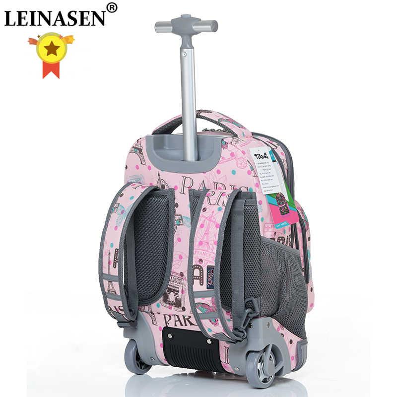 16 18 inch Wheeled backpack kids School backpack On wheels Trolley backpacks bags for teenagers Children School Rolling backpack