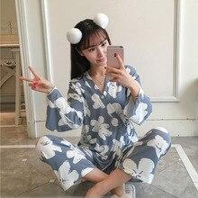 Spring Autumn Sleep Lounge Women Pajamas Set with Pants Slee