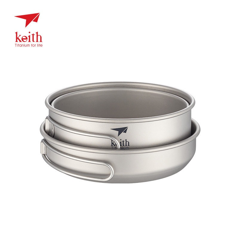 Keith 3pcs Titanium Pan Bowel Pot Set Outdoor Camping Picnic Cooking Kitchen Folding Cookware Ti6053 Campcookingsupplies Sports & Entertainment