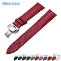 Genuína pulseira de couro 18mm para huawei watch/fit honor s1 butterfly buckle strap banda de pulso pulseira cinto de aço inoxidável