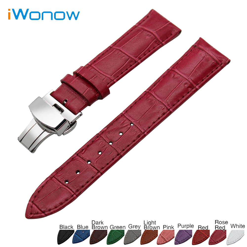 Genuine Leather Watchband 18mm for Huawei Watch / Fit Honor S1 Stainless Steel Butterfly Buckle Strap Band Wrist Belt Bracelet 18mm genuine leather watchband tool for huawei watch women s smartwatch band wrist strap plain grain belt bracelet black brown