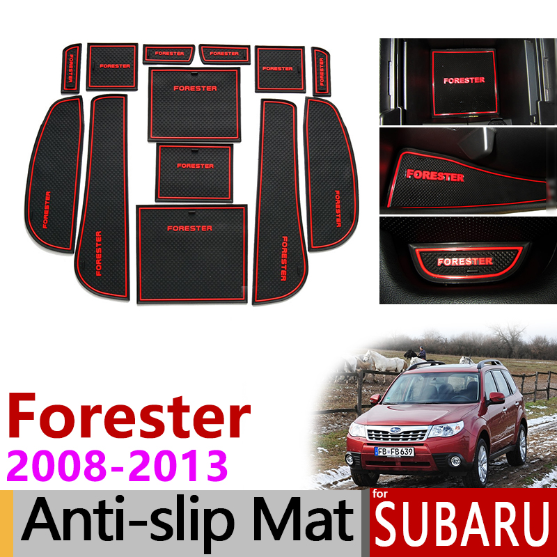 Anti-Slip Gate Slot Mat Rubber Cup Coaster for Subaru Forester 2008 2009 2010 2011 2012 2013 SH Accessories Stickers Car Styling