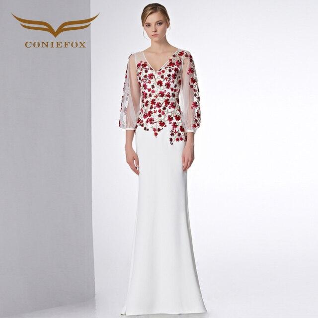 Coniefox 31590 flores trompeta vestidos de baile de encaje de manga ...