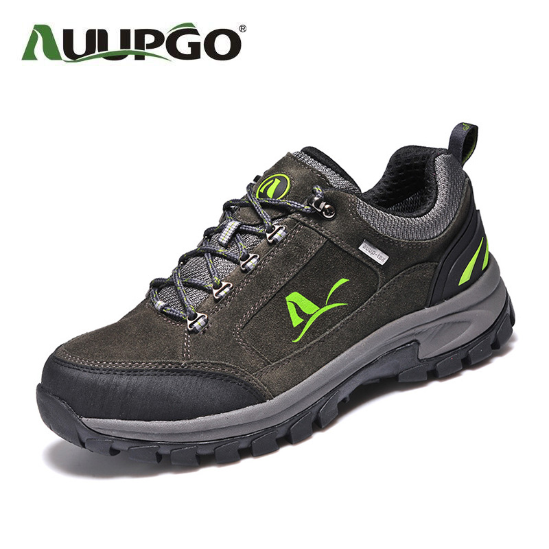 Waterproof Men Outdoor High Quality Hiking Shoes Non Slip Suede Leather Male Sneakers B2599 yin qi shi man winter outdoor shoes hiking camping trip high top hiking boots cow leather durable female plush warm outdoor boot