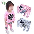 Fahion outono inverno bebê menina conjuntos de roupas meninas de Veludo de lã quente ternos define crianças conjuntos de roupas meninas da criança infantis