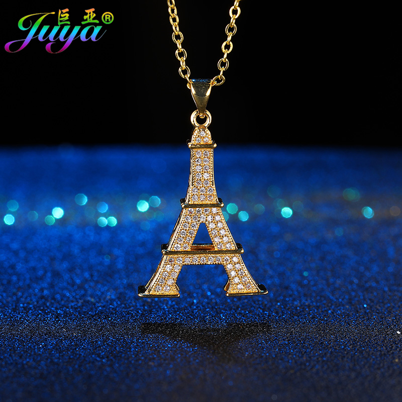 Ali Moda New Design Micro Pave Zircon Floating Eiffel Tower Pendant Sweater Necklace For Thanksgiving Day Christmas Gift