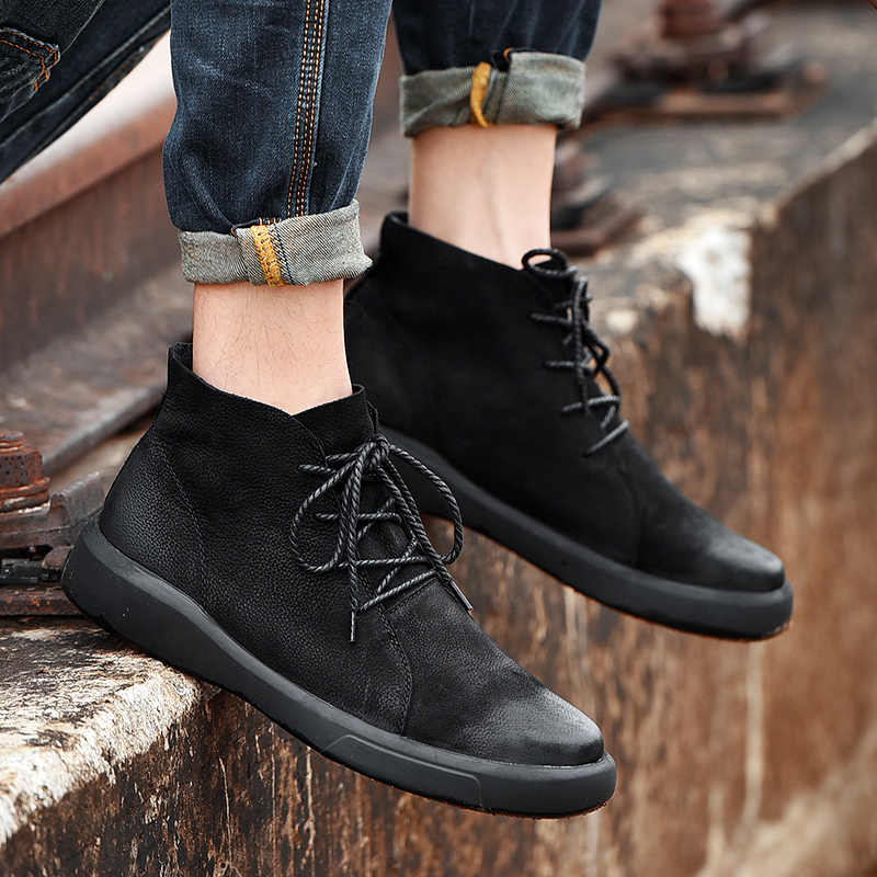 Mode Mannen Laarzen Winter Bont Schoenen Mannen Warm Casual Boot Mannelijke Rubber Enkel Sneeuw Botas Lace Up Plus Size 38-47
