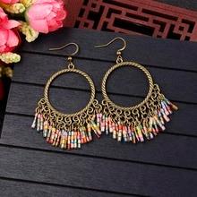 Handmade Vintage Bohemian Earrings With Beads Tassel Colorful Fringed Earings Beaded Tassel Earrings Bohemian Statement Jewelry bohemian beaded tassel drop earrings