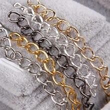 c272cc2e183c 50 unids 0.7x3.6x5mm collar Cadenas a granel para la joyería que hace DIY  oro plata color metal hierro Abrir Vínculo cadena coll.