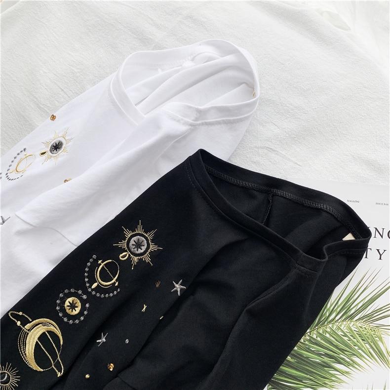 Fashion star embroidery Tee Shirt Femme korean Kawaii T Shirt Women Funny Short Sleeve T-Shirts harajuku white Black Tops Female 18