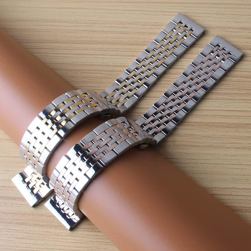 Watchband polished metal 18mm 19mm 20mm 21mm New Heavy silver gold mixed Stainless Steel Watchband Strap Bracelets Free Shipping dull polished mixed beaded bracelet