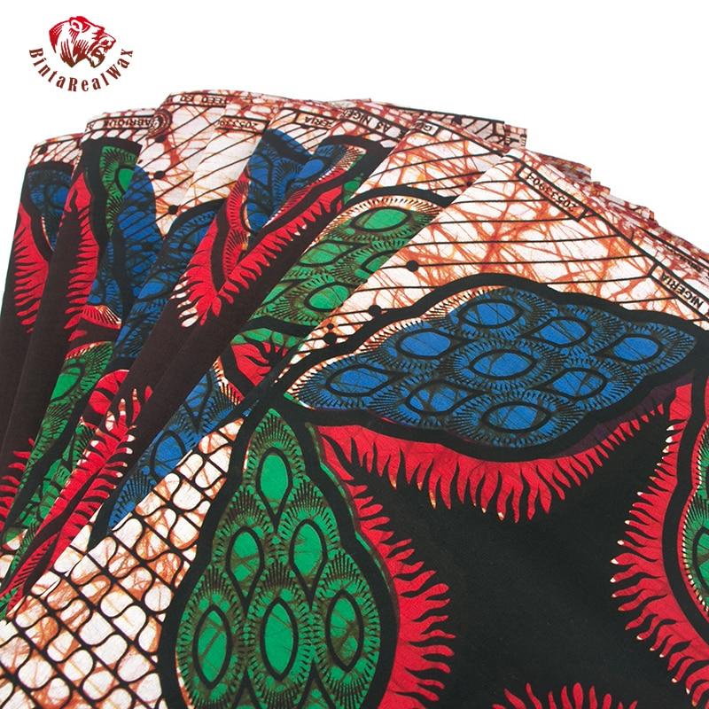 2017 bonne qualité 100% coton africain Ankara cire tissu pour robes de fête 6 Yards africain véritable cire impression tissu PL093