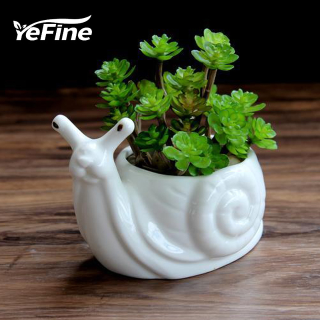 Yefine Cartoon Animal Bonsai Pots Garden Plants White Ceramic Cute Snail Shape Flower Porcelain Office Desktop Decoration