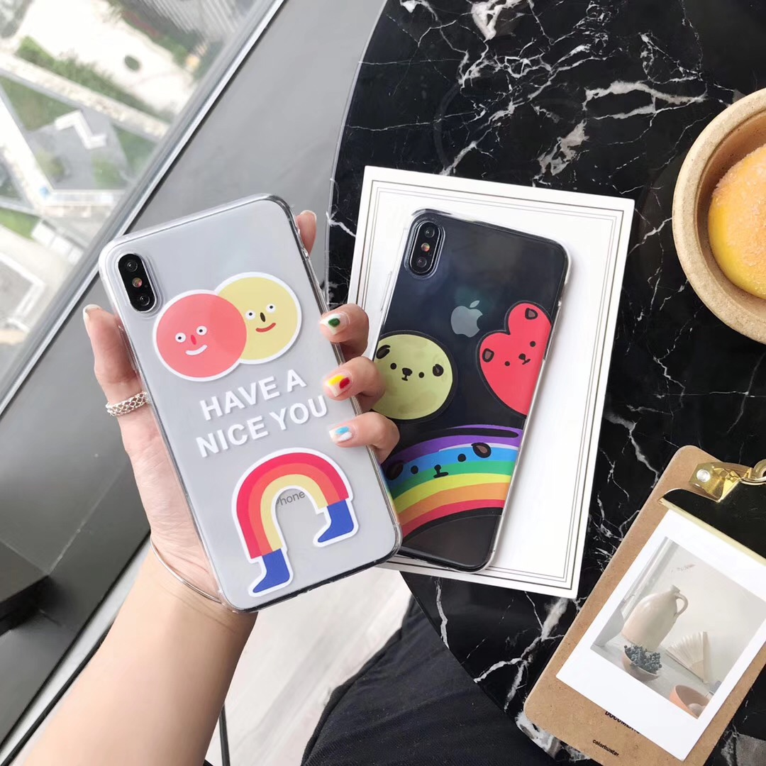 INS Korea smiley clown NICE YOU Phone Case For iphone Xs MAX XR X 6 6s 7 8 plus Simple Rainbow Clear Soft TPU back cover Fundas