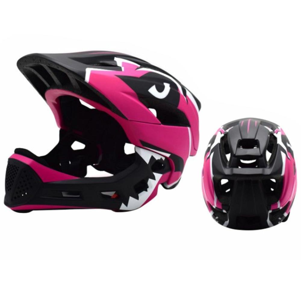 Дети полный уход за кожей лица Детские защитный шлем шапки съемный Crashworthy творчества Велоспорт Шлем модульный флип - Цвет: pink black