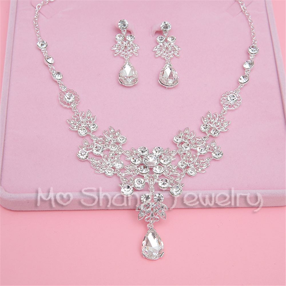 Free Shipping White Rhinestone Bridal Jewelry Set Wedding Prom Party  Accessories Silver Plated Necklace Earring Set