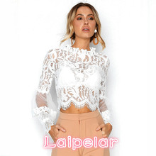 Laipelar Sexy Hollow Out White Lace Blouse Shirt Women Elegant Flare Sleeve Summer Blouses Female Casual Long Sleeve Tops Blusa lace blouse women turtleneck long sleeve flare sleeve black shirt lady street wear sexy perspective blouses blusa white tops