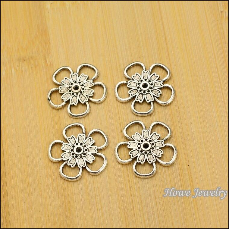 61113822a0d 80 unids vendimia Amuletos flor conector colgante de plata antigua fit  collar de las pulseras DIY metal fabricación de joyas