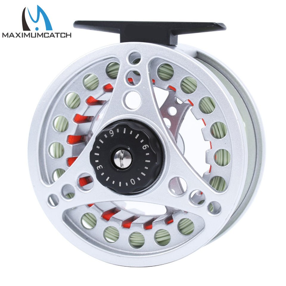 Maximumcatch Fly Reel and Line Combo 3-8wt نقره ای Fly Fly Reel Orange Backing Line Green Fly Line Fishing Combo