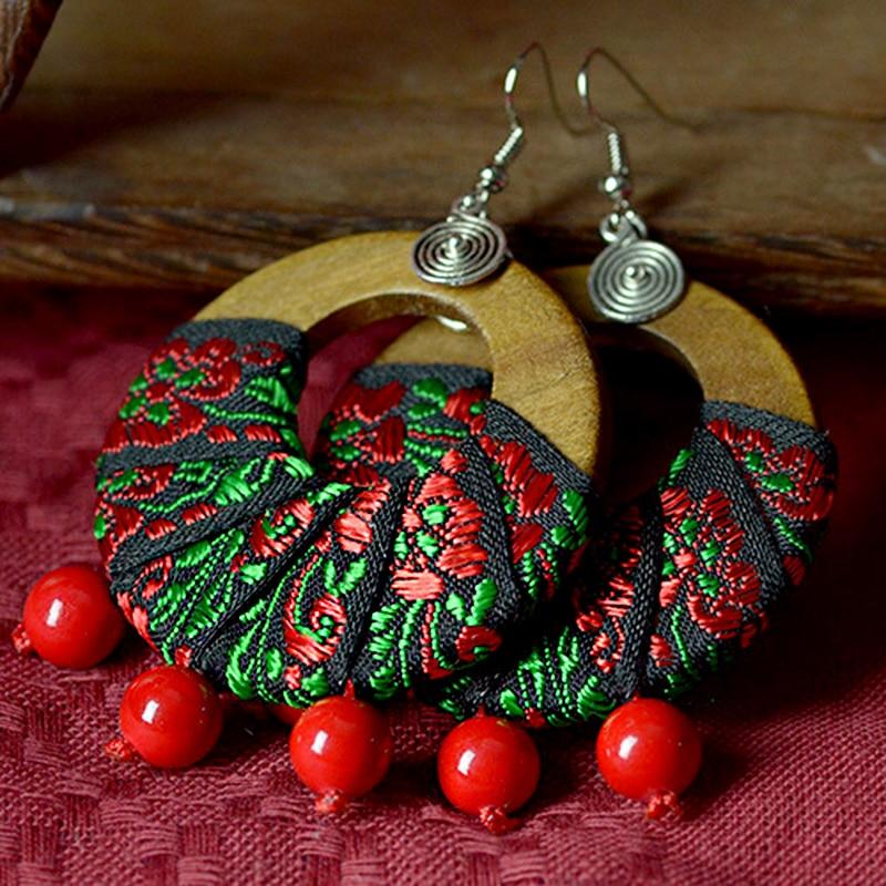 Çinko alaşım Kanca küpe kadınlar için ahşap çemberler grenn ve kırmızı doğal taş boncuk damla etnik tarzı vintage takı moda