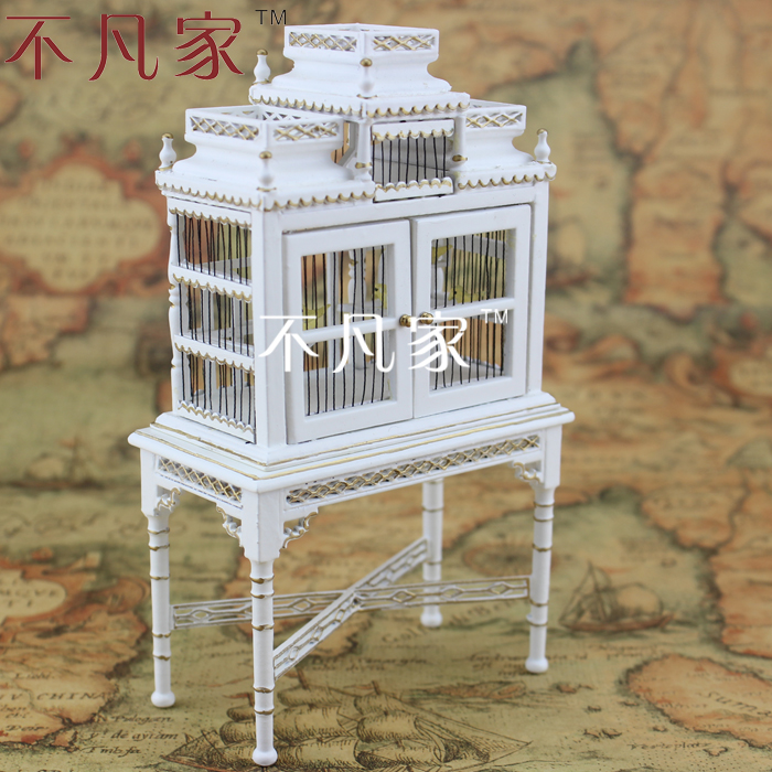1/12 scale Doll house miniature dollhouse mini white gold bird cage miniature dollhouse on table 1 12 scale house shape showcase