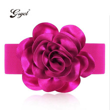 [Gsycl] New Fashion Belts for Women Ms Chiffon Rose Flower Elastic Waistband Chiffon Ultra-Loose Tight Waist Belt Color Red