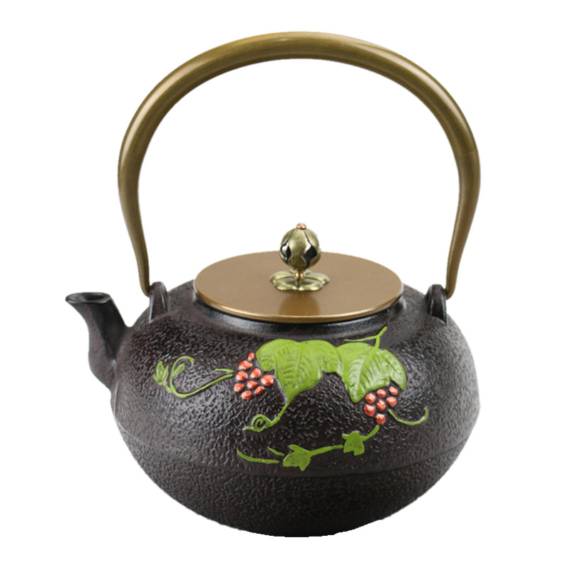 Drinkware 1.2L South Japan Cast Iron Tea Pot Green Grape Kettle