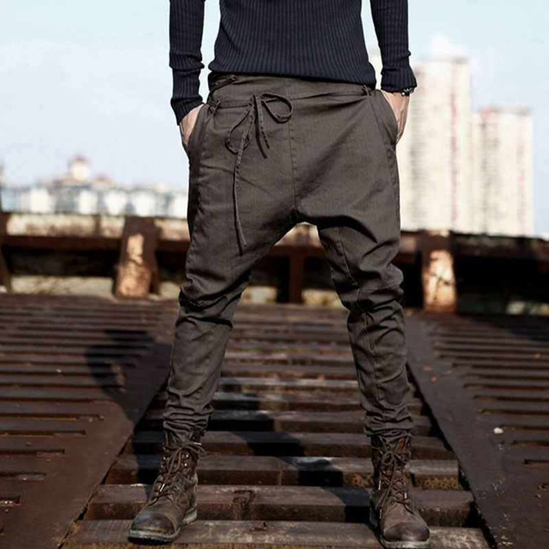 New Casual Men Harem Pants Autumn Spring Loose Casual Pants Trousers Cotton Blend Long Pants Drawstring Sashes Male Pant