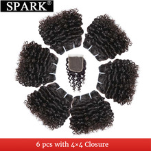 SPARK Brazilian Kinky Curly Weave Short-Cut 6 Inhces 6 Bundles With Closure Can Make A Human Wig Double Drown Natural Remy Hair