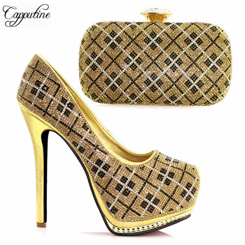 Capputine New Arrival Italian Rhinestone Shoes And Bag Set Top Sale African Super High Heels Shoes And Purse Set For Wedding