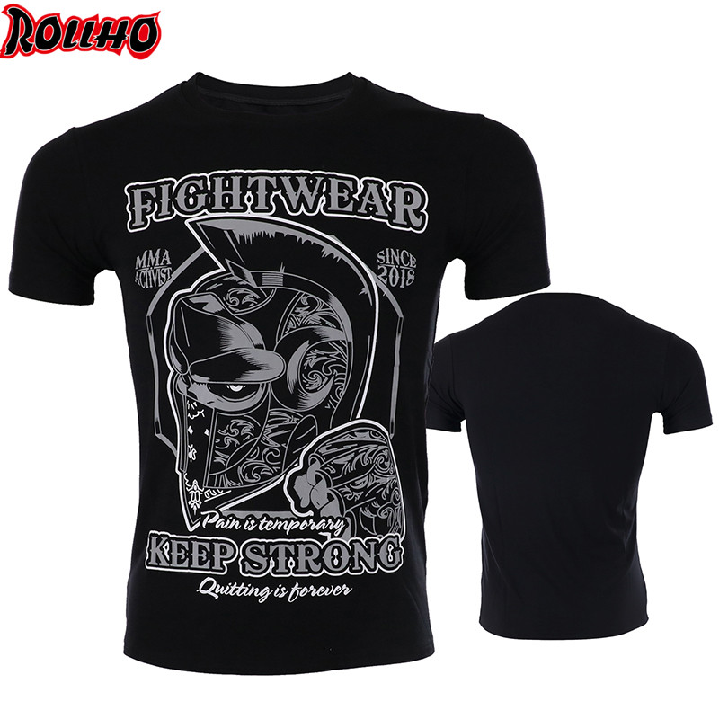 ROLLHO Fighting Broadcast Muay Thai STRONG Sports MMA Fighting Fighting Short-sleeved Quick-drying Elastic T-shirt