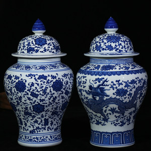 Image 1 - Chinese Style Antique Imposing Ceramic Ginger Jar Home Office Decor Blue and White Porcelain Vase