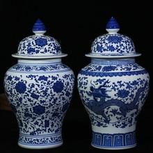 Çin Tarzı Antika Heybetli Seramik Zencefil Kavanoz Ev Ofis Dekor Mavi ve Beyaz Porselen Vazo