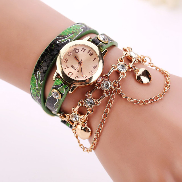 Rhinestone Gold Bracelet Jewelry Watch