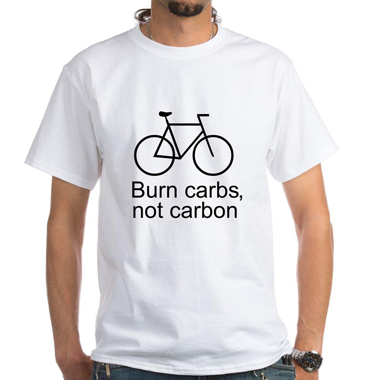 Burn Carbs Not Carbon Cyclin White T-Shirt - 100% Cotton T-Shirt, White