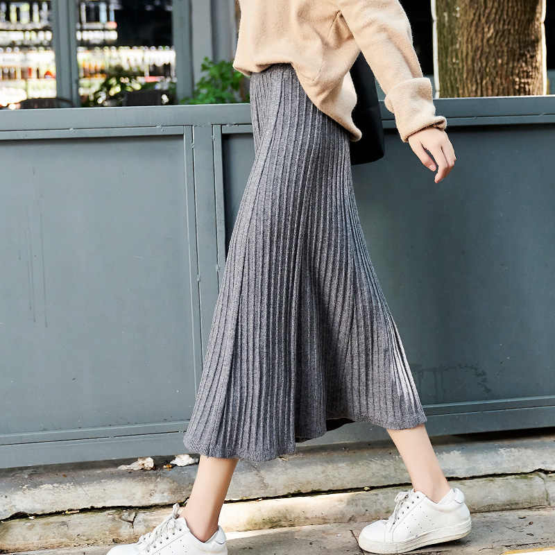 4209445e6f Black Grey Apricot Warm Thick Knitted Long Skirt for Women Fall Winter  Womens Stretch High Waist