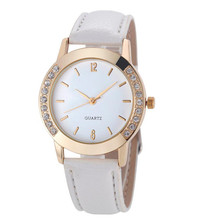 2017 Relojes Feminino watch Women Casual Faux Leather StrapQuartz Watch Diamond Gold Round Case Ladies Dress MAY10