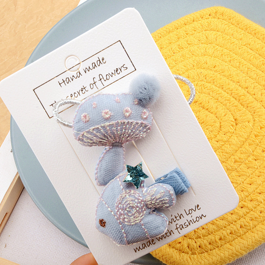Novelty Girls Cartoon Fish Mushroom Hairpins 3sets Korean Color Princess Cute Headwear Embroidered mushroom Hairbands Barrettes in Hair Accessories from Mother Kids