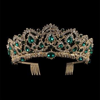 KMVEXO Europäischen Tropfen Grün Rot Kristall Tiaras Vintage Gold Strass Pageant Kronen Mit Kamm Barock Hochzeit Haar Zubehör